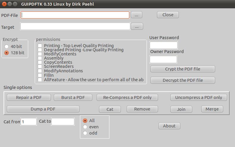 Графический интерфейс бесплатного редактора pdftk в Ubuntu