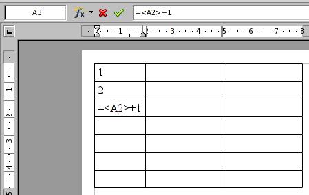 Вставка формулы в таблицу Writer для автоматической нумерации строк